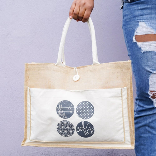 Price Reduced! Collide Logo Burlap & Canvas Tote