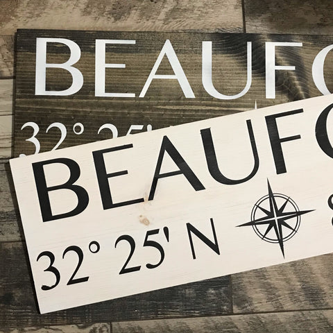 Custom Wood City Coordinates Sign
