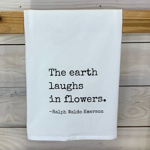 Laughs in Flowers Tea Towel