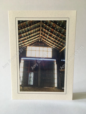 Rural barn greeting card title Inner Barn Glow