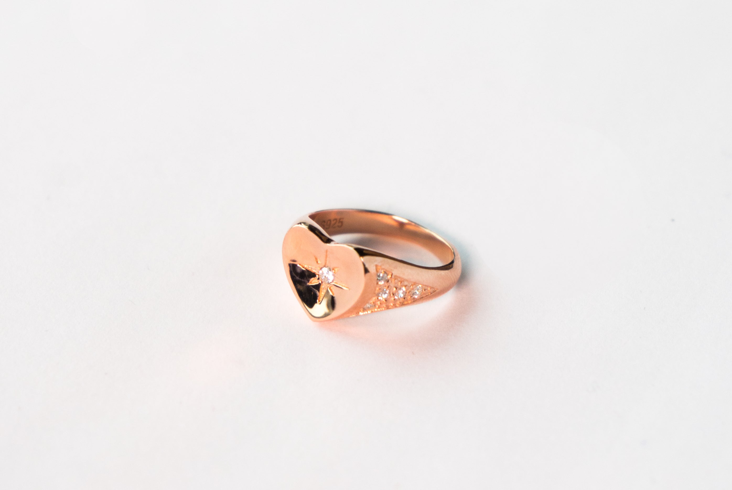 Rose Gold White Heart Signet Ring The Glared