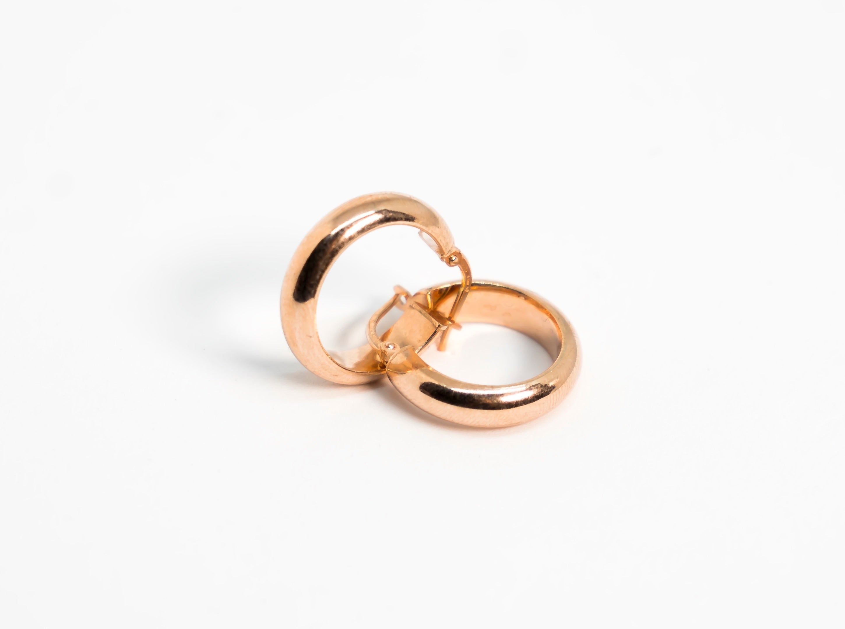 Rose Gold Classic Thick Hoop Earrings The Glared