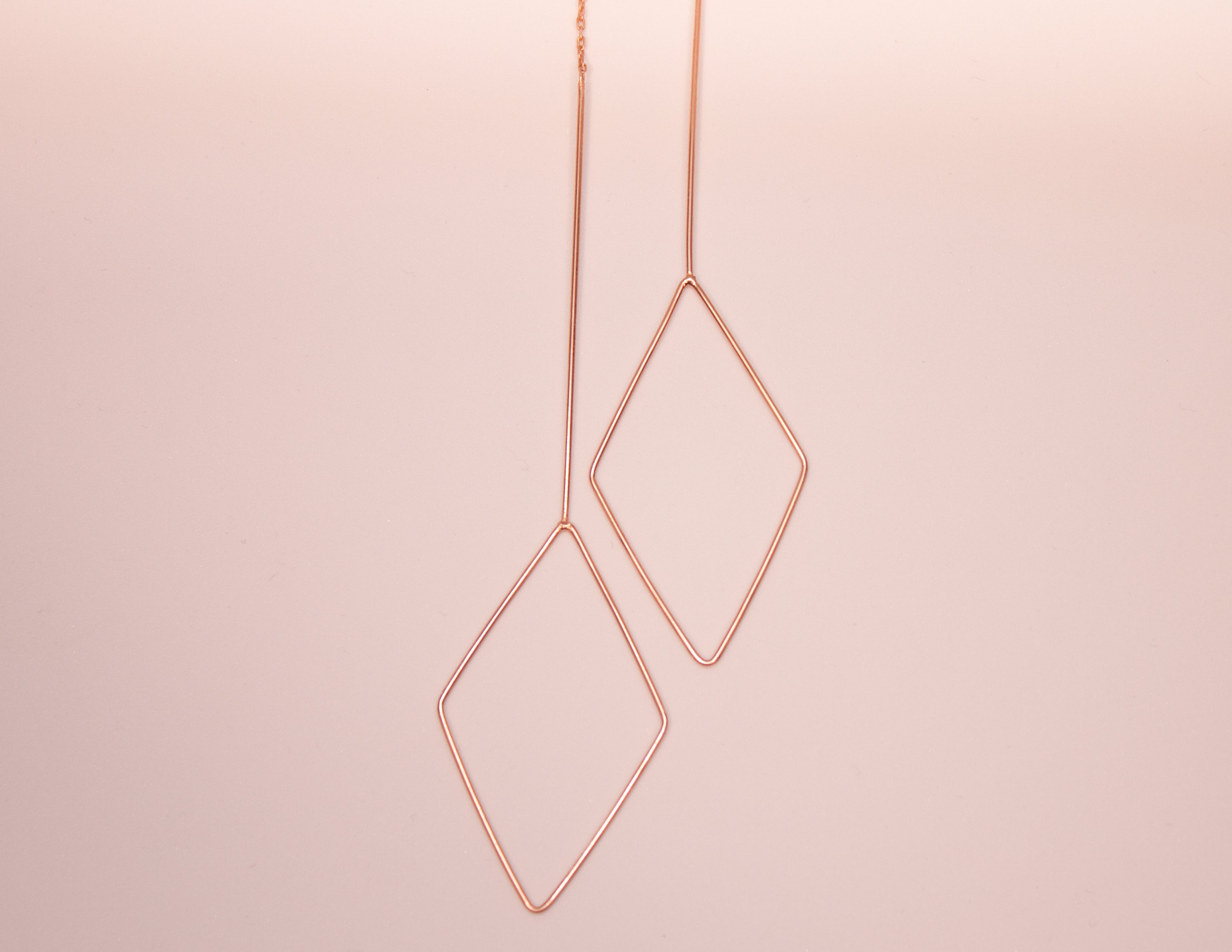 Rose Gold Diamond Shaped Dangling earrings The Glared