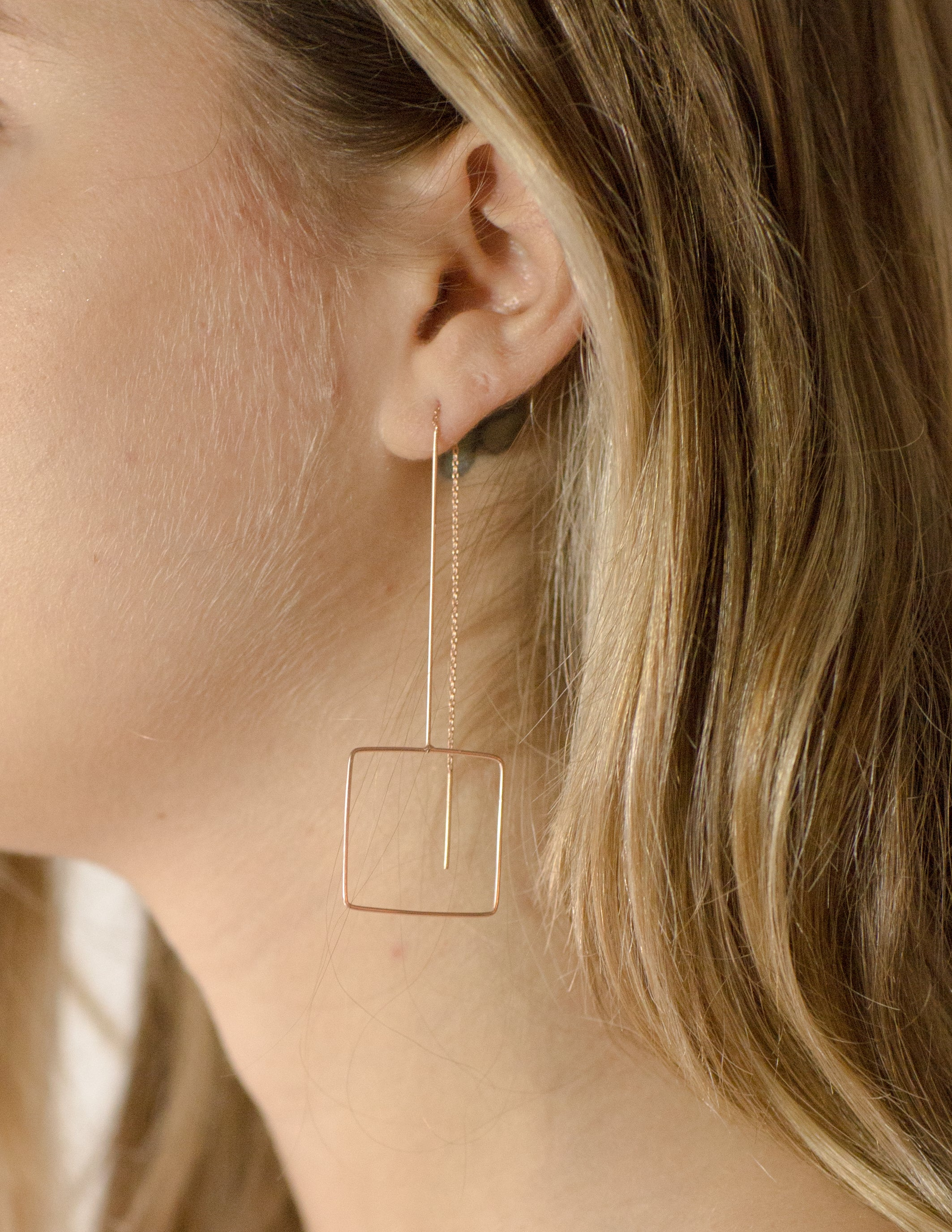 Square Rose Gold Earring The Glared