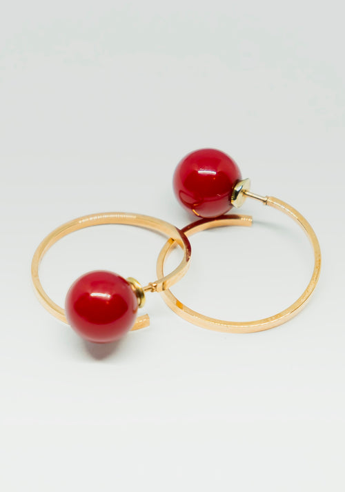 Glared Cherry Red Kissed Earring