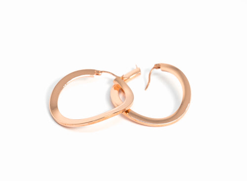 Flat Hoop Earrings Rose Gold The Glared