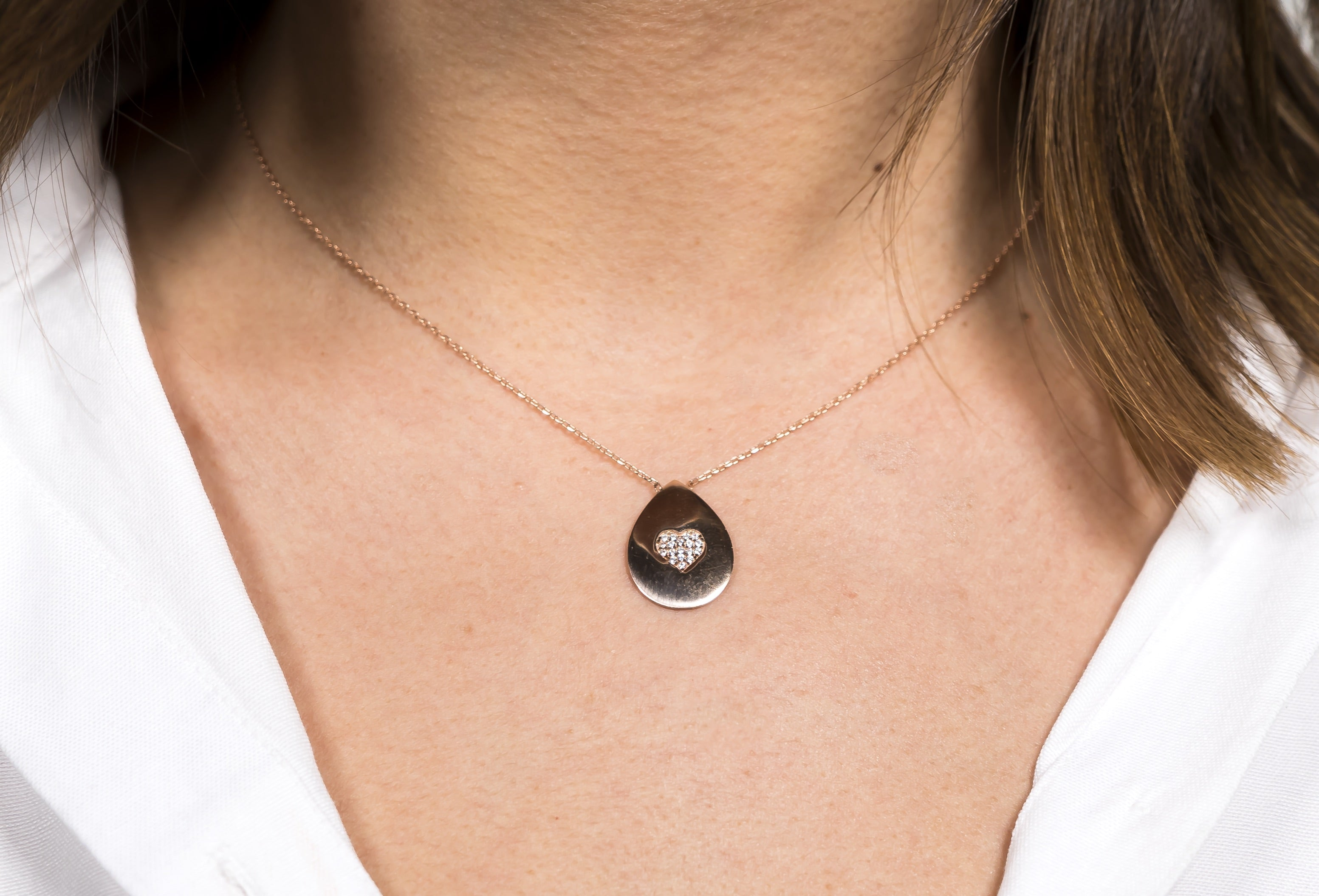 Heartdrop Necklace Rose Gold The Glared