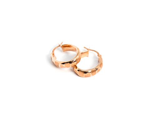 Textured Chunky Hoops Rose Gold The Glared