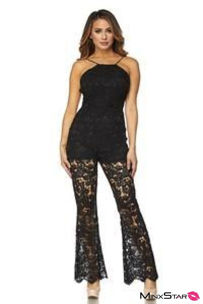 Getting Knitty With It Crochet Jumpsuit - Black