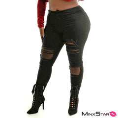 Super High Waisted Fishnet Knee Skinny Jean - Black