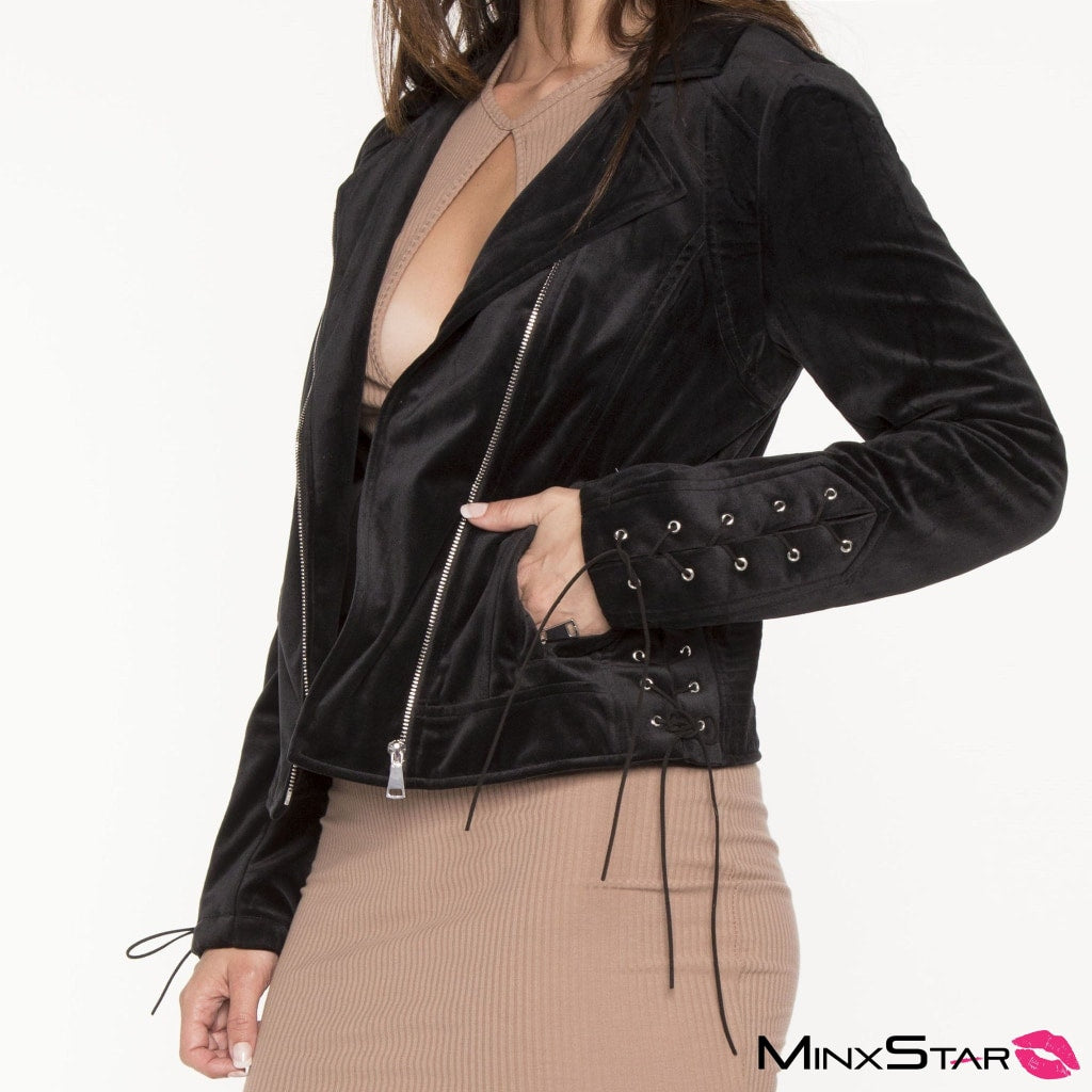 Sweetheart Velour Moto Jacket - Black