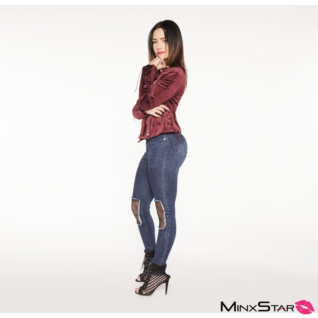 Sweetheart Velour Moto Jacket - Wine