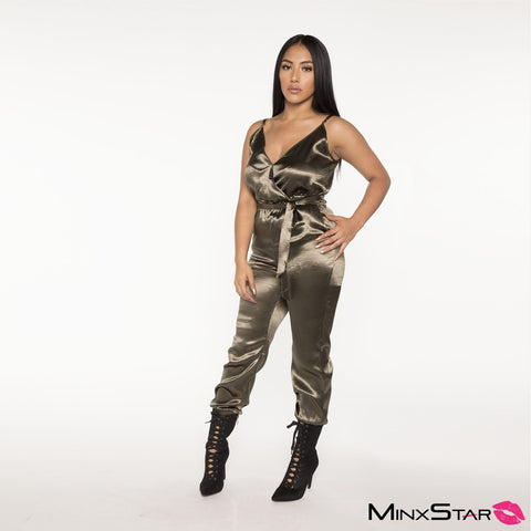 Sleek And Sexy Satin Jumpsuit - Olive