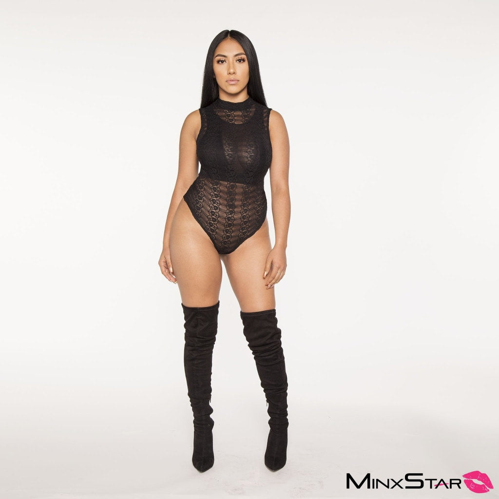 Yours Truly Lace Bodysuit - Black