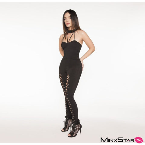 Catty Me Moleton Lace Up Jumpsuit - Black