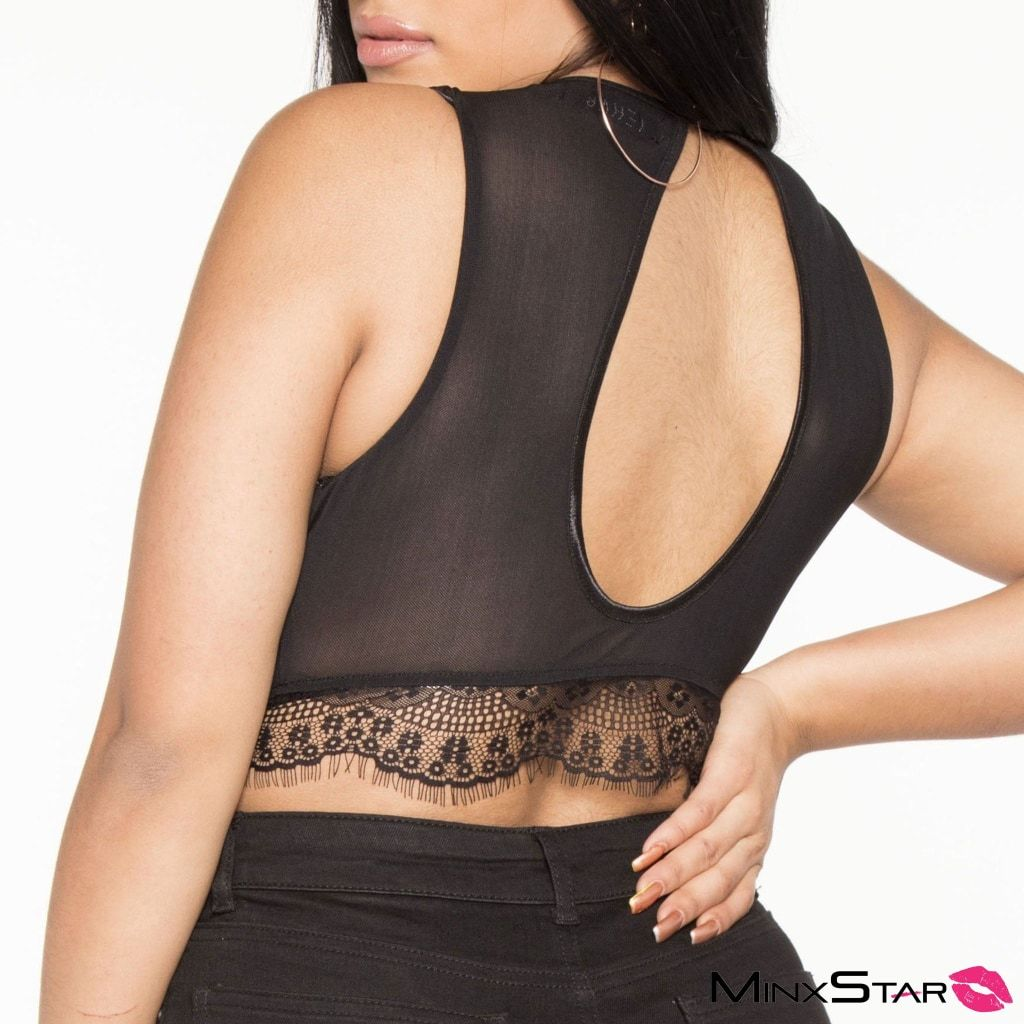 Lace & Mesh Bra Top - Black