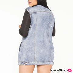 Tux Long Denim Jacket Vest - Medium Wash