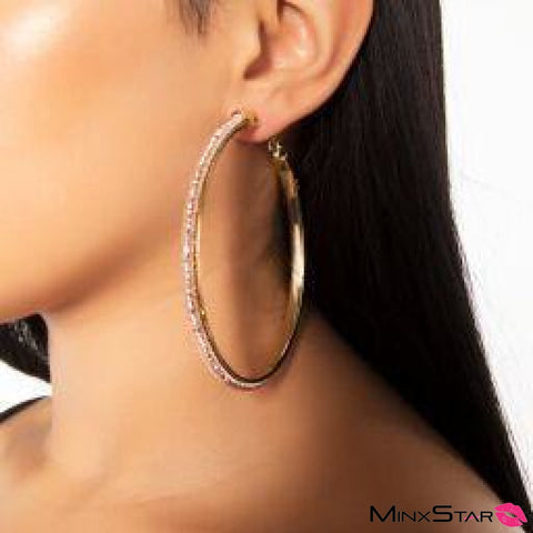 Thick Glitzy Hoop - Rose Gold