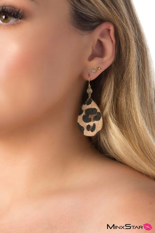 BLINGY! Stylish Brown Leopard Gold Earrings