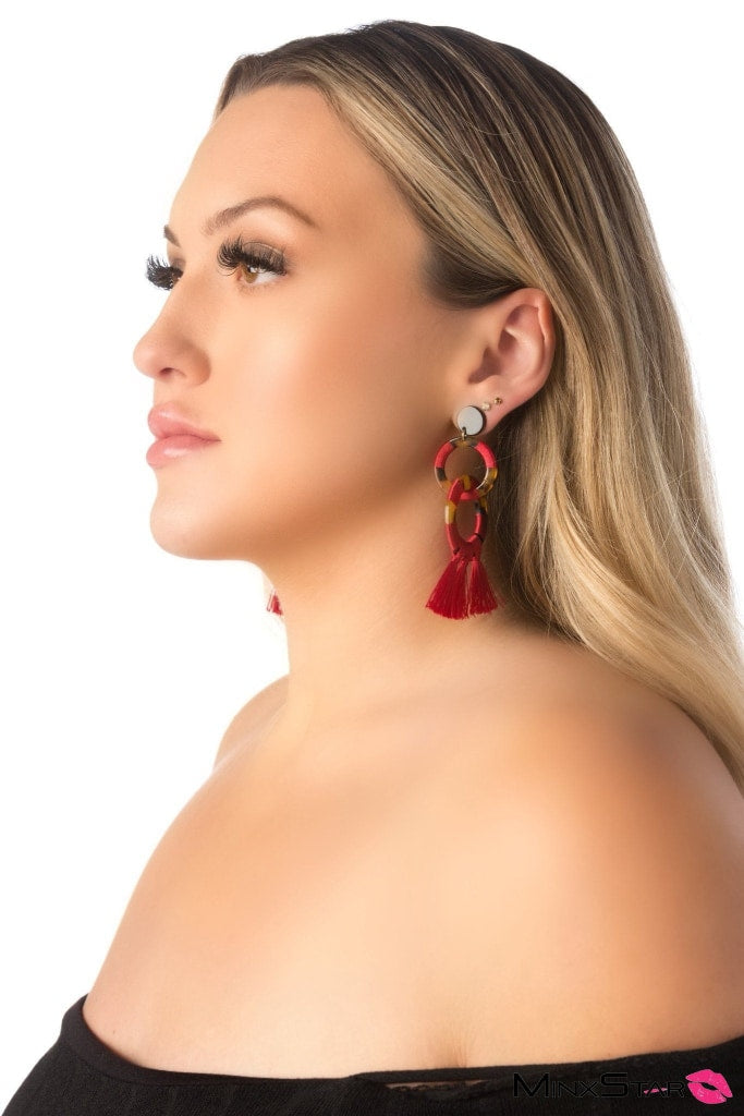 Red & Brown Tassle Earrings