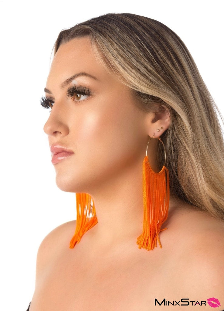Stylish Golden Hoops with Orange Tassles