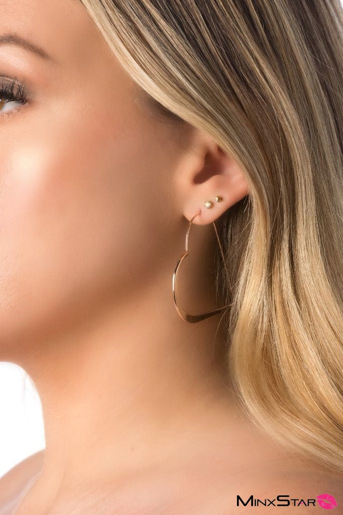 Stylish Rose Gold Heart Earings