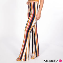 Blurred Lines Flare Striped Pant - Multi