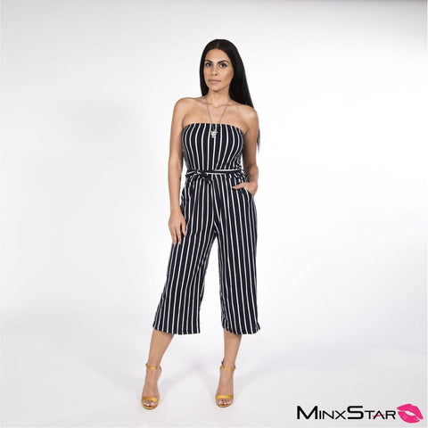 Crossing The Line Jumpsuit - Black & White