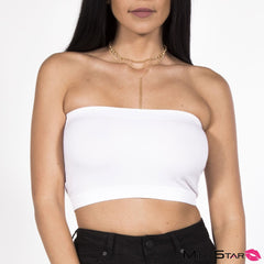 Turn Up Tube Top - White