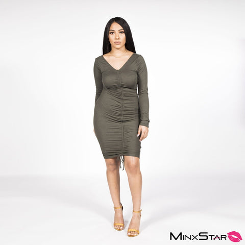 Tie The Knot Olive Long Sleeve Dress