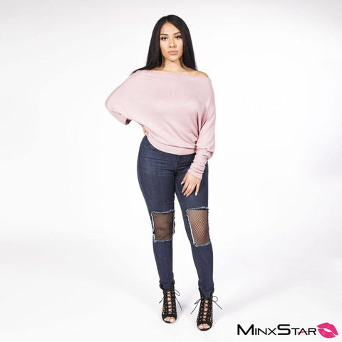 Baby Pink Off Shoulder Pull Over Sweater