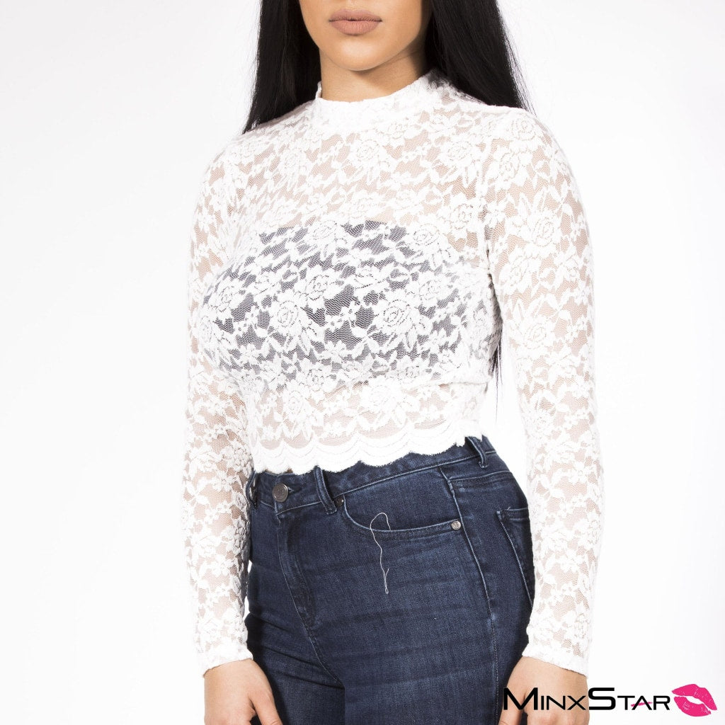 Sexy White Floral Lace Top