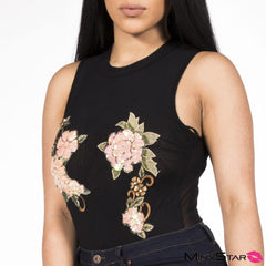 Touched By A Rose Glam Sequin Bodysuit - Black