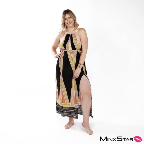 Roped & Focused Maxi Dress - Multi