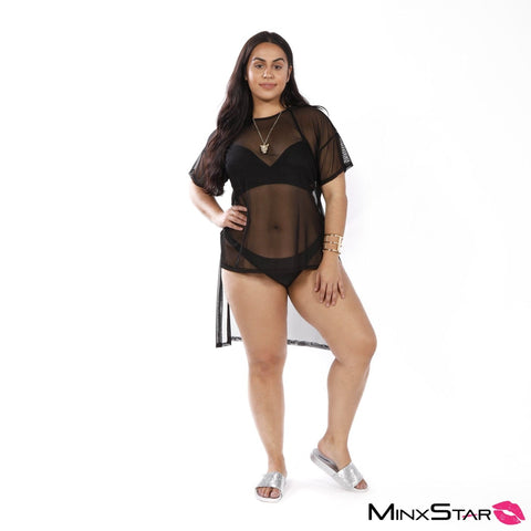 See Through Me Mesh Cover Up - Black