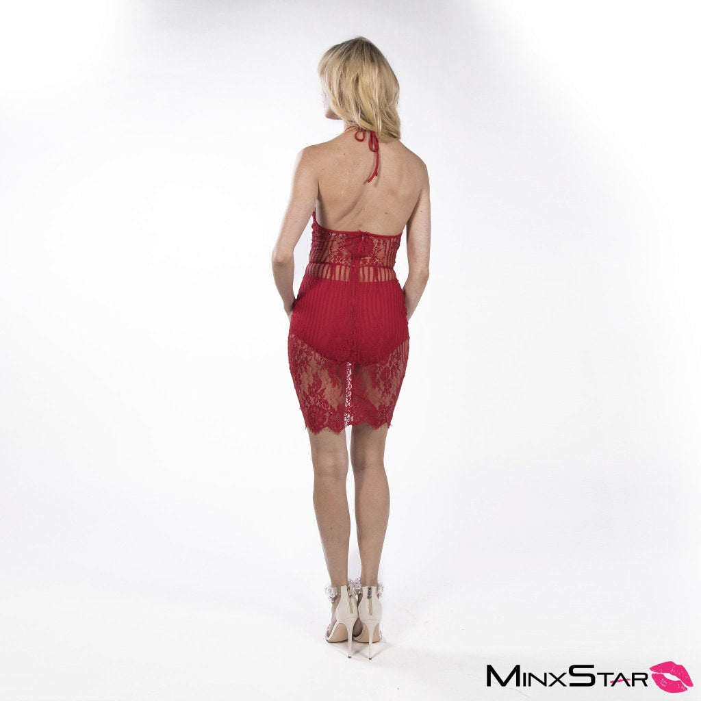 One More Night Lace Teddy - Red