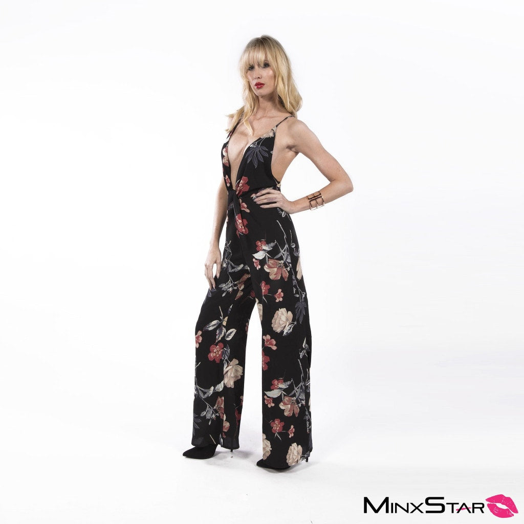 Tropical Love Jumpsuit - Black