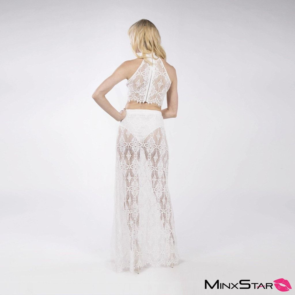 Into The Night Lace Skirt Set - White