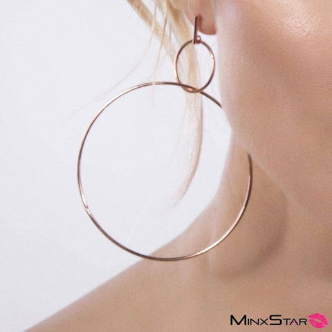 Double Ring Earrings - Rose Gold