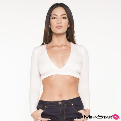 Miranda Key Hole Side Crop L/S Top - White