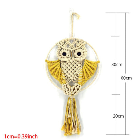 Macrame Wall Hanging Owl Tapestry