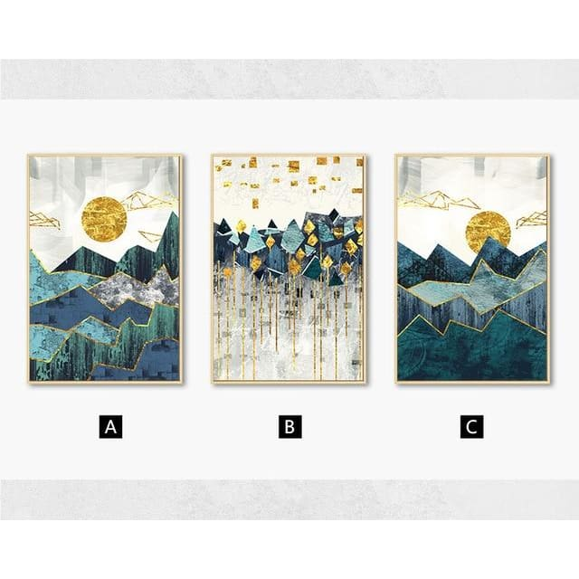 Abstract Mountain Wall Poster - 21x30cm No Frame / 3pcs - Wall Poster