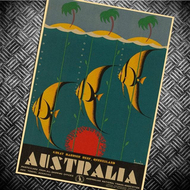 Australia Retro Posters - au fishes / 30x42cm - Wall Poster