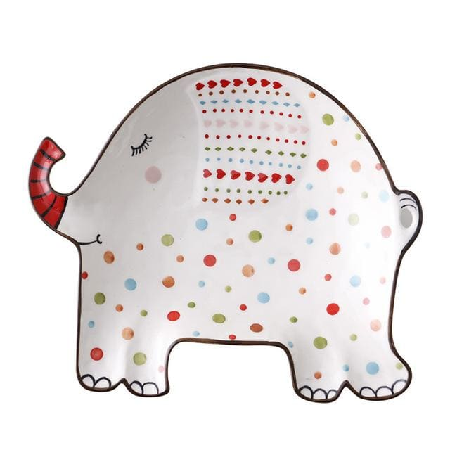 Cartoon animal tableware - elephant - plates