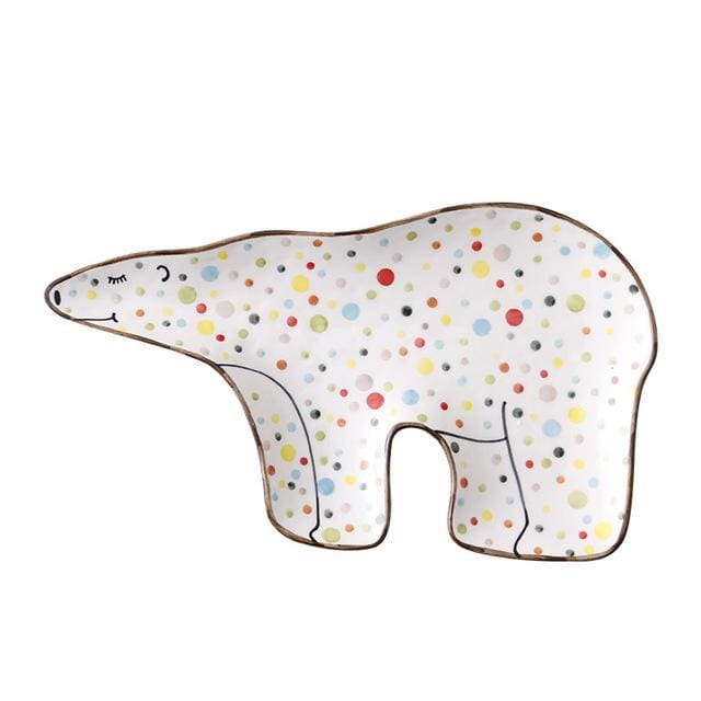 Cartoon animal tableware - polar bear - plates