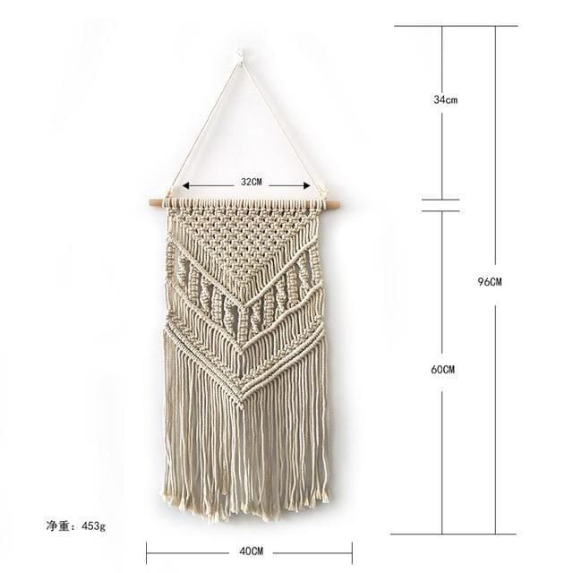 Colorful Macrame Wall Hanging Tapestry - grey cotton - macrame