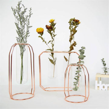 Copper / Golden Vase Rack - glass vase