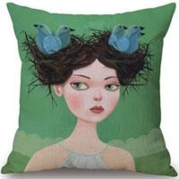 Decorative Pillow Case - 8 Bird girl / 45x45cm - pillow cases