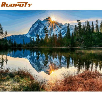 DIY Painting - Mountain Lake - DIY painting