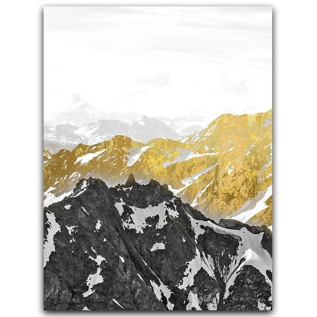 Golden Mountain Wall Art - A4 21x30cm No Frame / Left - Wall Poster